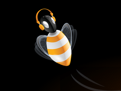 U-bee redesign mascot bee vector illustration logo identity yellow white black music headphone rubbik