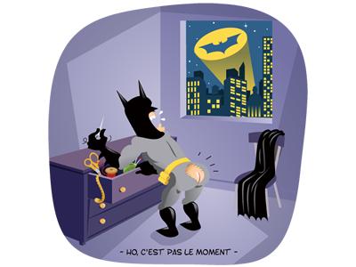Batman en avant-première illustration humour rubbik