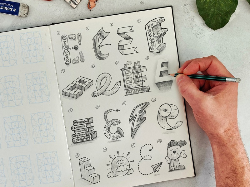 16 Types of E procreate app sketch ipad procreate brush calligraphy hand lettering lettering typography
