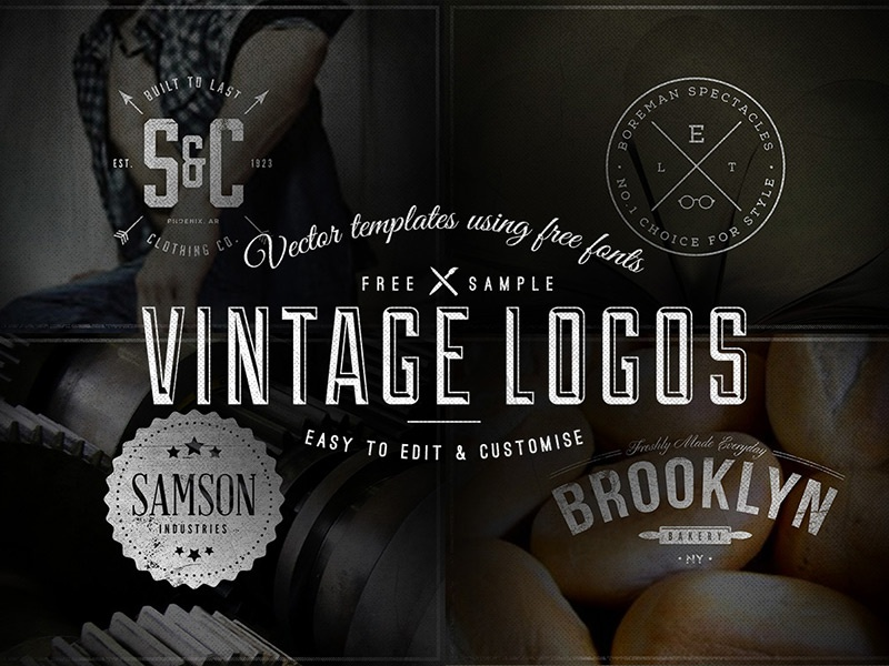 4 Free Vintage Logo Badge Templates logo branding vintage retro badges typography type font clothing bakery glasses