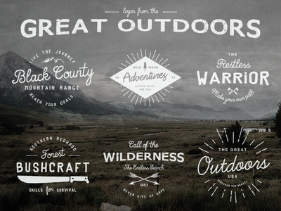 Logos from the Great Outdoors logos branding vintage retro badges typography type grunge backgrounds templates vector illustrator
