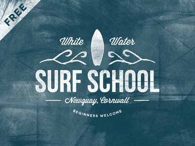 Freebie - Surf School Logo logos branding vintage retro badges typography type grunge backgrounds templates vector illustrator