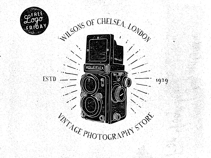 Free Logo Friday: Rolleiflex logos branding vintage retro badges typography type grunge backgrounds templates vector illustrator