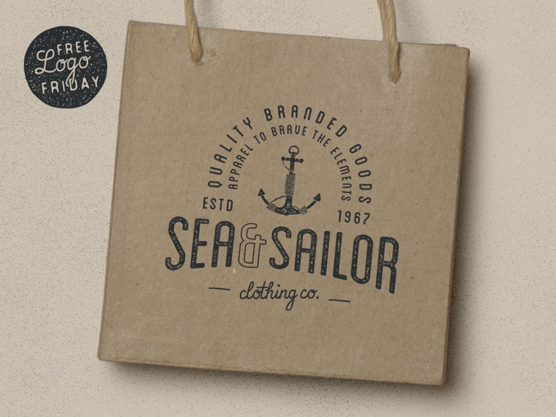 Freebie: Sea & Sailor Clothing Co. freebie logos branding vintage retro badges typography grunge backgrounds templates vector illustrator