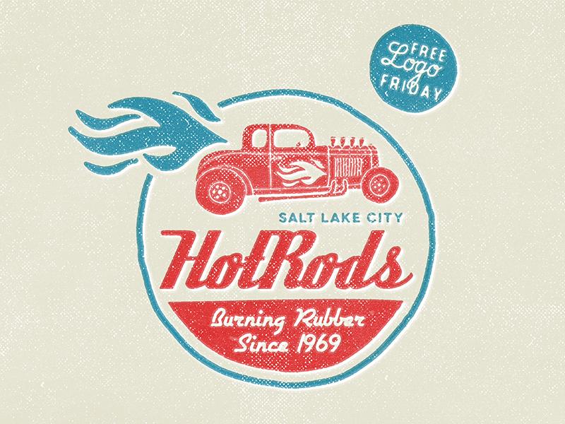 HotRods - Free Logo Friday logos branding vintage retro badges typography type grunge backgrounds templates vector illustrator