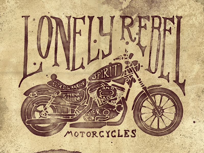 Lonely Rebel Motorcycles creative market vintage retro textures backgrounds overlays army grunge png vectors logos aged