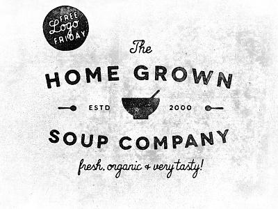 Freebie - Home Grown Soup Co. free freebie logo template vintage retro hand made photoshop illustrator