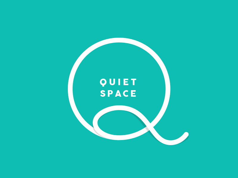 A graphic of the words quiet space
