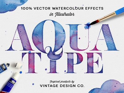 AquaType vector watercolour watercolor effects textures illustrator paint brush inks
