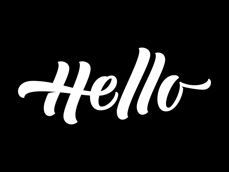 Hello brushscript clothing skate surf bezier curves vector lettering typography calligraphy brush hand lettering