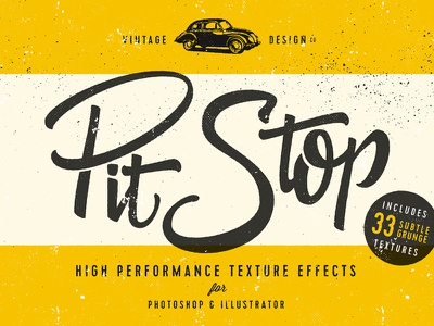 PitStop retro vintage illustrator photoshop textures vector typography lettering creative market