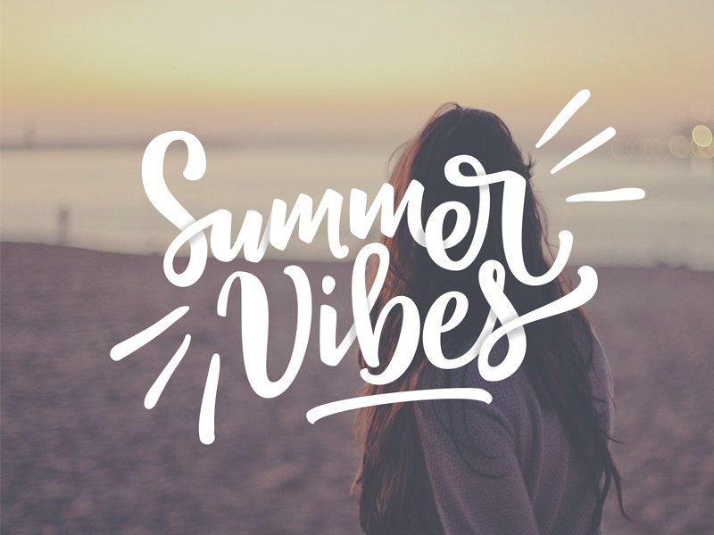 Summer Vibes bezier curves vector lettering typography calligraphy brush hand lettering