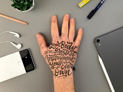 Your Body pen ink type brush calligraphy hand lettering typography lettering