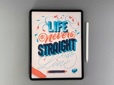Life is never a straight line procreate ink brush type calligraphy hand lettering lettering typography