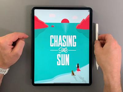 Chasing the Sun apple ipad affinity designer video design illustration illustrator vector brush calligraphy hand lettering lettering typography