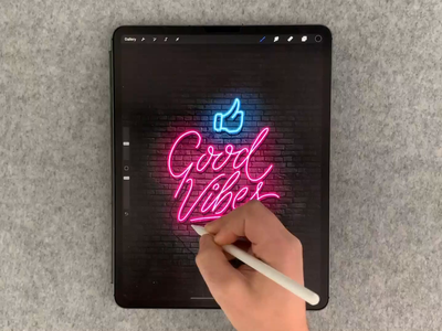 Good Vibes neon sign digitalart digital neon texture brush calligraphy hand lettering lettering typography
