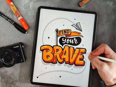 Find Your Brave procreate calligraphy hand lettering lettering typography