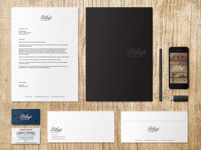 Riley's Cycles Branding & Stationery Mockups