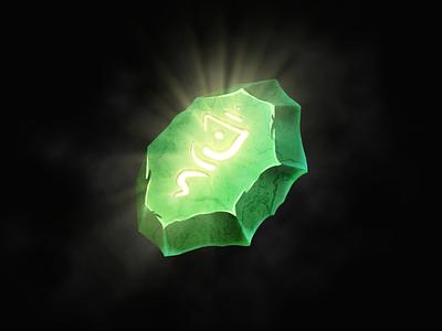 Magic emerland crystal game art magic runes green icon element game 2d crystal stone emerland