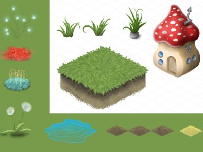 Amanita mushrooms village for isometric mobile game