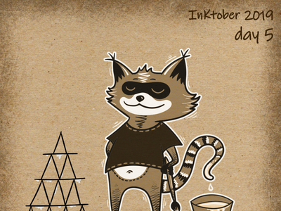Inktober Raccoon adventutes! Day 5 - building