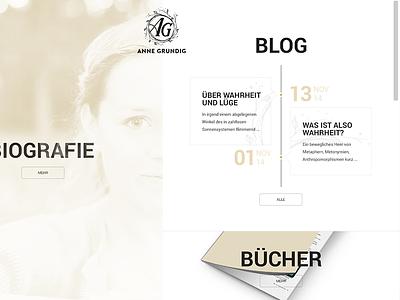 Anne Grundig Relaunch blog responsive portfolio writer journalist golden clean