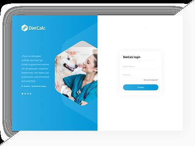 DietCalc Splitscreen 1 splitscreen login clean blue branding ui