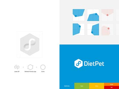 DietPet - rebranding next step design system skeletal circle rebranding shapes branding and identity blues hexagon branding