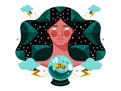 ✨What is Done is Done ✨ sorceress magical visual designer crystal ball fortune teller fortune magic character san francisco oakland illustrator texture illustration