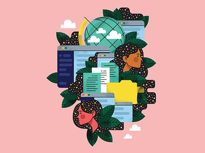 Everything, Everywhere globe stipple adobe illustrator app work character design holt510 texture illustration