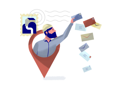 Check is in the Mail character mail letter visual designer texture holt510 san francisco oakland illustration