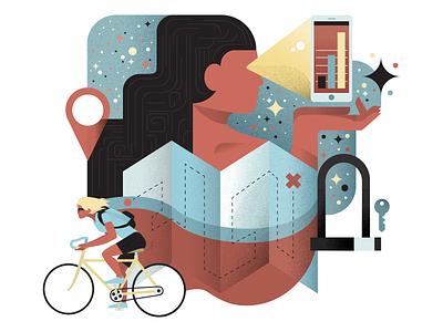 Ride Tonight oakland 510 sf bay area illustration design character phone bike map key ride texture