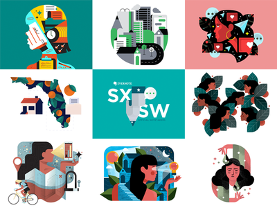 🙌Top 9 Of 2018 🙌 sxsw sf bay area oakland san francisco character leaves hellosign evernote dribbble texture top 9 illustration