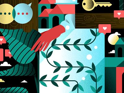 Crop leaves woman hand san francisco bay area bay area girl adobe illustrator vector visual designer icons sf bay area character illustrator design holt510 texture san francisco illustration oakland