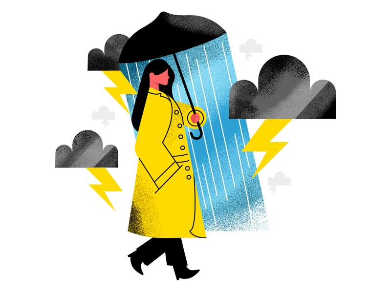 Storming rain design character adobe illustrator sf bay area san francisco illustrator holt510 texture oakland illustration