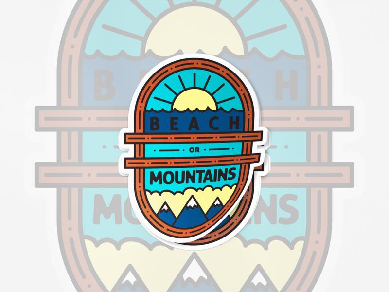 Beach or Mountains? nature mountians beach sticker blue illustration design