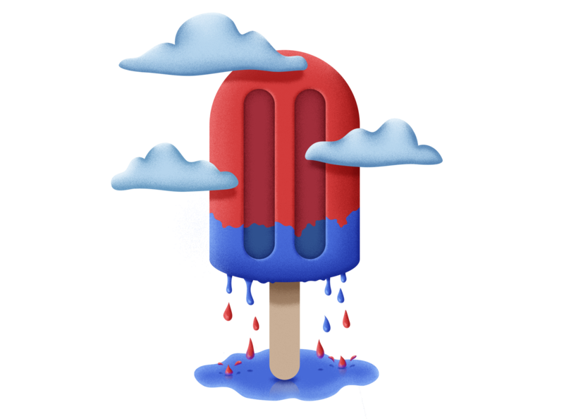 Its Raining Popsicle! red blue drawing clouds rain illustraion popsicle