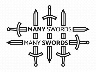 MANY SWORDS medieval design medieval swords logo design