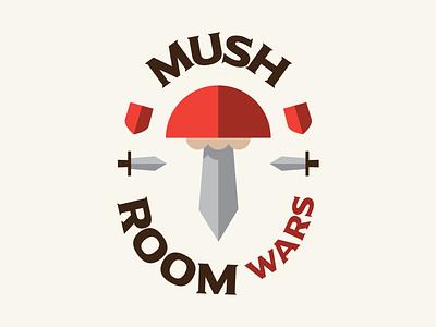 Mushroom Wars shields swords medieval design mushroom