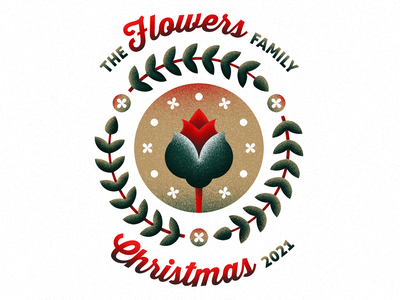 Family and Flowers for Christmas texture red and green family crest holidays flowers christmas
