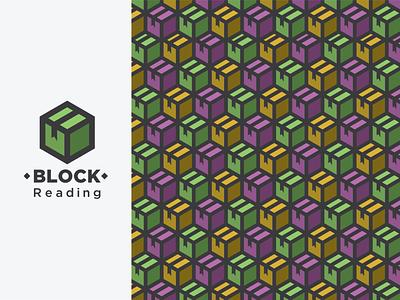 Block Reading Isometric Logo branding pattern bookmark reading cubes boxes isometric logo logo