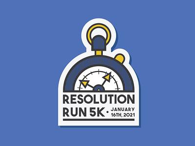 Stopwatch Race Event Design - Old sticker 5k blue clock race time t-shirt design logo stopwatch