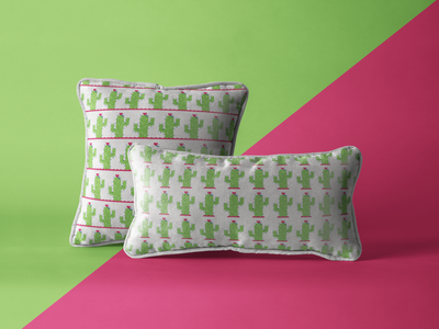 Prickly Pillows pattern design pattern green covers bed bed sheets pillows cactus