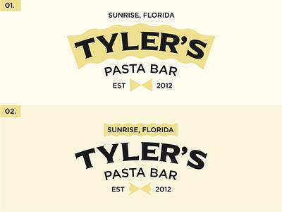WHICH ONE? yellow bowtie pasta logo options logo branding restaurant