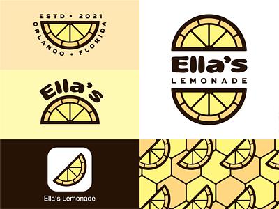 Ella's Lemonade fruit stained glass yellow design branding lemon slice lemon lemonade