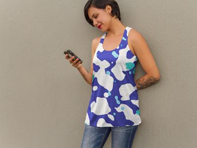 Blue Pattern Tank Top apparel clothing top tank womens white blue pattern blobs water