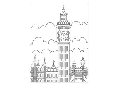 Big Ben Monoline - Black/White buildings black white postcard monoline england britian big ben