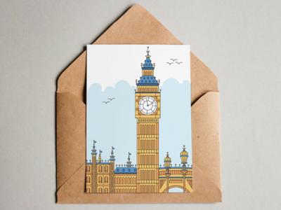 Big Ben Postcard monoline design postcard design illustration sky building postcard britain england big ben
