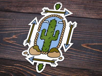 Sticker Design - Missing Arizona arrows sticker saguaro desert arizona cactus