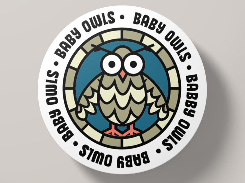 Baby Owls! badge stickers cute baby owls